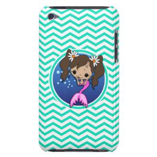 Cute Mermaid Aqua Green Chevron Barely There iPod Case