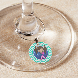Cute Mermaid; Aqua Green Chevron Wine Charm