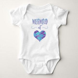 Cute Mermaid at Heart Baby Bodysuit
