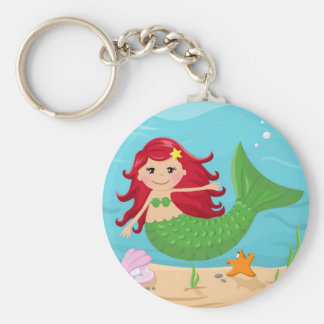 Cute mermaid basic round button key ring