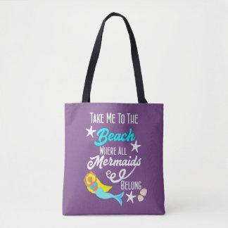 Cute Mermaid  Beach Themed Slogan Graphic Tote Bag