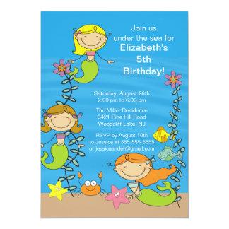"Cute Mermaid Birthday Invitation 5"" X 7"" Invitation Card"