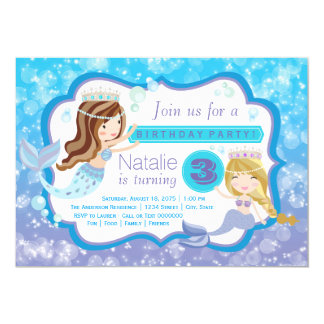 Cute Mermaid Birthday Party Invitations