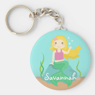 Cute Mermaid from the Ocean, For Girls Basic Round Button Key Ring
