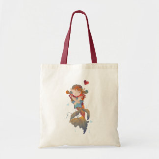 Cute Mermaid Hugging a Pillow Tote Bag