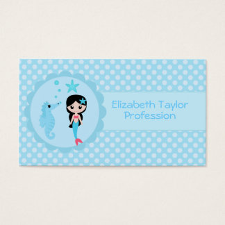 Cute Mermaid in Blue Business Card