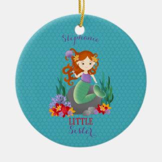 Cute Mermaid Little Sister Round Ceramic Decoration