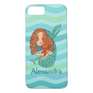 Cute Mermaid & Mercat Teal & Sea Green Custom Name iPhone 8/7 Case