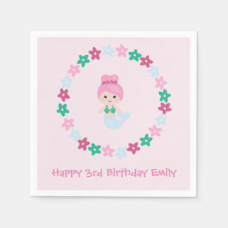 Cute Mermaid Pink Birthday Napkin with name Disposable Serviette