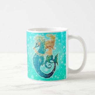Cute Mermaid Seahorse Sparkle Mug