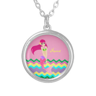 Cute Mermaid Small Silver Plated Round Necklace