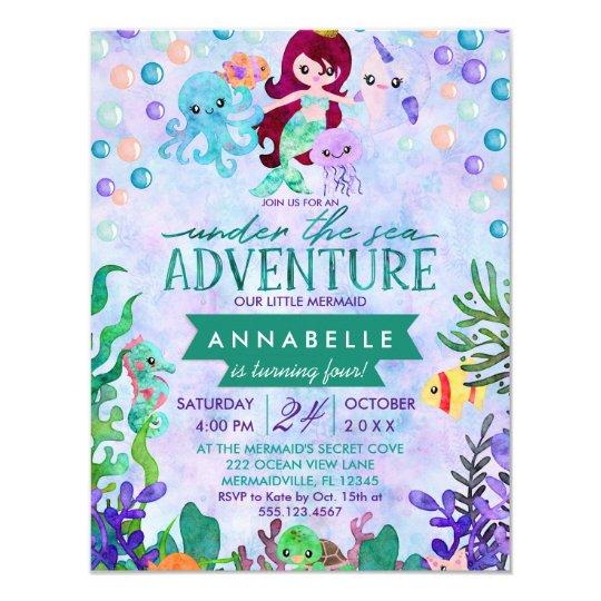 Cute Mermaid Theme Birthday Party Invitations