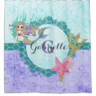 Cute Mermaid Watercolor Teal & Purple Monogram Shower Curtain