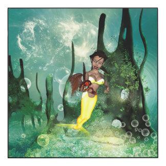 Cute mermaid with fantasy fish