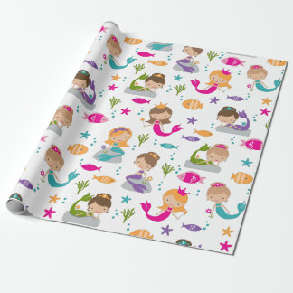 Cute Mermaids and Fish Under the Sea Wrapping Paper