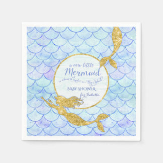 Cute Mermaids Fish Scale Baby Shower Faux Glitter Disposable Napkins