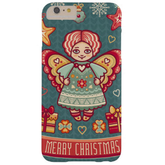 Cute Merry Christmas Angel and presents Barely There iPhone 6 Plus Case