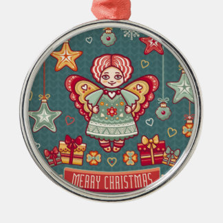 Cute Merry Christmas Angel and presents Silver-Colored Round Decoration