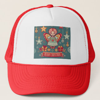 Cute Merry Christmas Angel and presents Trucker Hat