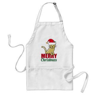 Cute Merry Christmas Kitty Cat Standard Apron