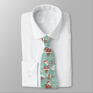Cute Merry Christmas pattern with Santa Claus Tie