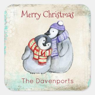 Cute Merry Christmas Penguins Square Sticker