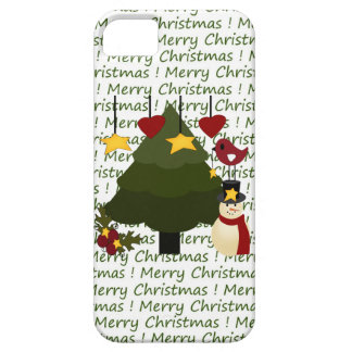Cute Merry Christmas Snowman & Tree iPhone 5 Case