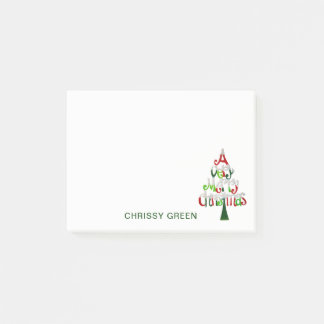 Cute Merry Christmas Tree Holiday Custom Red Green Post-it Notes