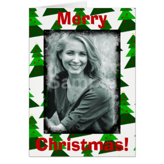 Cute Merry Christmas Trees Add Your Photo Card