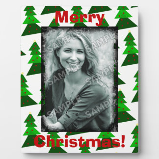 Cute Merry Christmas Trees Add Your Photo Plaque