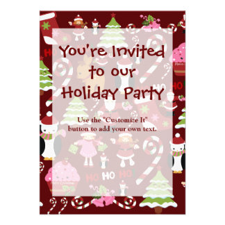 Cute Merry Christmas Xmas Holiday Pattern Invites