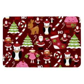 Cute Merry Christmas Xmas Holiday Pattern Rectangular Photo Magnet