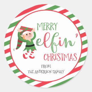 Cute Merry Elf Christmas Sticker