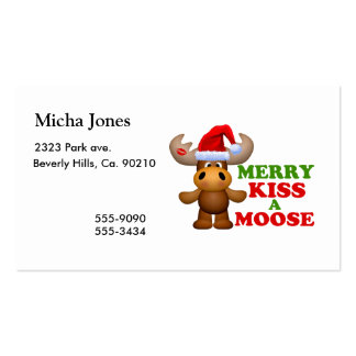 Cute Merry Kiss A Moose Christmas Double-Sided Standard Business Cards (Pack Of 100)