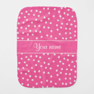 Cute Messy White Polka Dots Pink Background Baby Burp Cloth