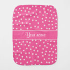 Cute Messy White Polka Dots Pink Background Burp Cloth