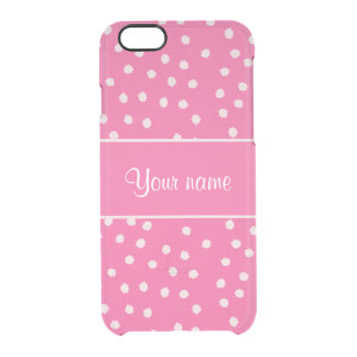 Cute Messy White Polka Dots Pink Background Clear iPhone 6/6S Case