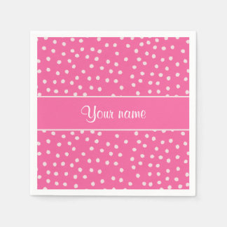 Cute Messy White Polka Dots Pink Background Disposable Serviette