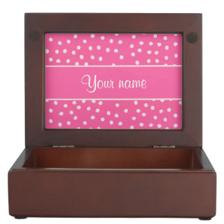 Cute Messy White Polka Dots Pink Background Keepsake Box