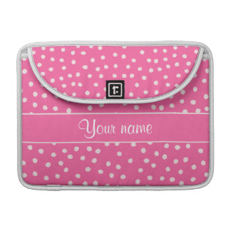 Cute Messy White Polka Dots Pink Background MacBook Pro Sleeve