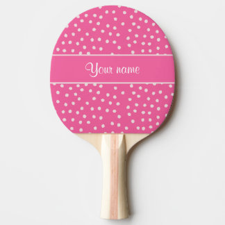 Cute Messy White Polka Dots Pink Background Ping Pong Paddle