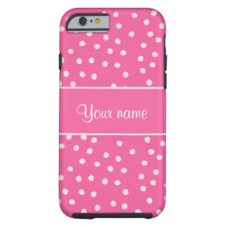 Cute Messy White Polka Dots Pink Background Tough iPhone 6 Case