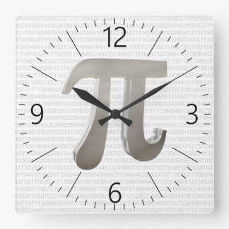 Cute metal pi character square wall clock