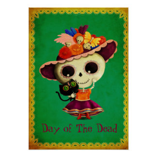 Cute Mexican Day of The Dead Girl Poster