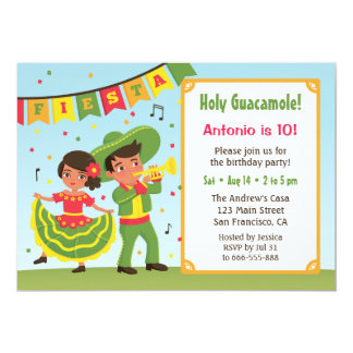 Cute Mexican Fiesta Hispanic Kids Birthday Party Card