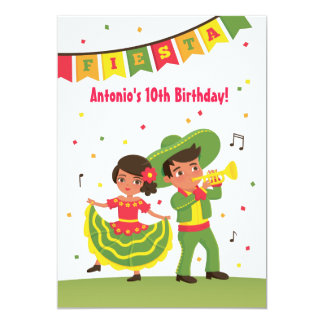 Cute Mexican Fiesta Latino Kids Birthday Party Card