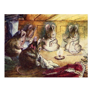 Cute Mice Sewing Postcard