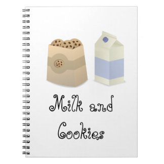 Cute Milk and Cookies Spiral Note Books