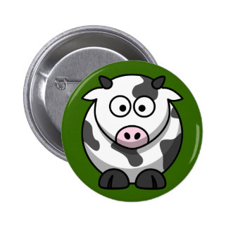 Cute Milking Cow On Green Grass Button Pin