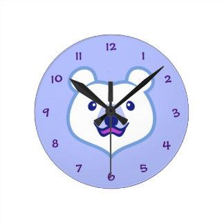 Cute Minimalist Cartoon Polar Bear Round Clock